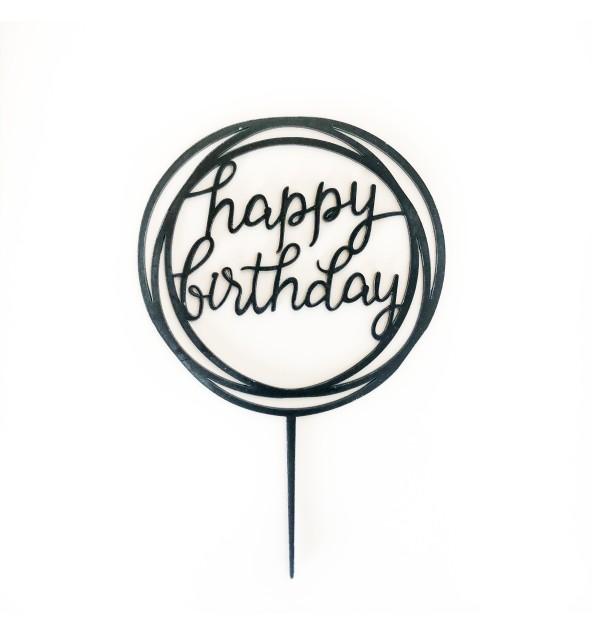 Black Happy Birthday Topper (Round)