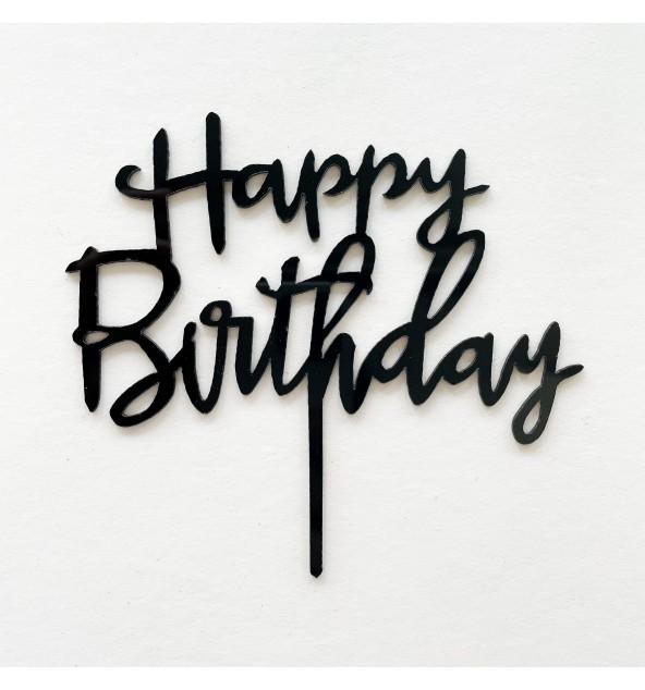 Black Happy Birthday Topper