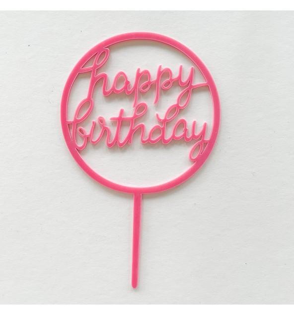 Pink Happy Birthday Topper (Round)